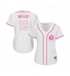 Womens Texas Rangers 19 Shelby Miller Replica White Fashion Cool Base Baseball Jersey