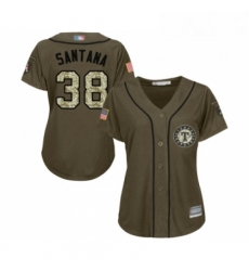 Womens Texas Rangers 38 Danny Santana Authentic Green Salute to Service Baseball Jersey