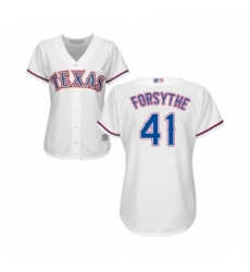 Womens Texas Rangers 41 Logan Forsythe Replica White Home Cool Base Baseball Jersey