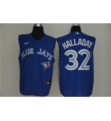 Blue Jays 32 Roy Halladay Royal Nike Cool Base Sleeveless Jersey