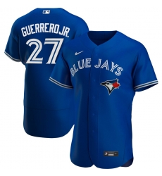 Men Toronto Blue Jays 27 Vladimir Guerrero Jr  Men Nike Royal Alternate 2020 Flex Base Player MLB Jersey