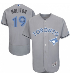 Mens Majestic Toronto Blue Jays 19 Paul Molitor Authentic Gray 2016 Fathers Day Fashion Flex Base MLB Jersey