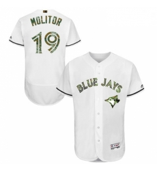 Mens Majestic Toronto Blue Jays 19 Paul Molitor Authentic White 2016 Memorial Day Fashion Flex Base Jersey