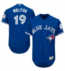 Mens Majestic Toronto Blue Jays 19 Paul Molitor Blue Alternate Flex Base Authentic Collection MLB Jersey