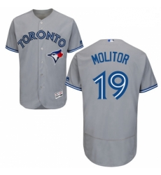 Mens Majestic Toronto Blue Jays 19 Paul Molitor Grey Road Flex Base Authentic Collection MLB Jersey