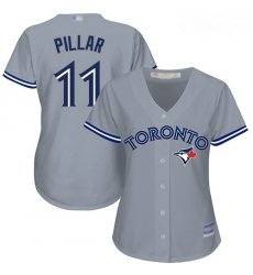 Blue Jays #11 Kevin Pillar Grey Road Women Stitched Baseball Jersey
