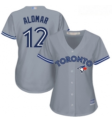 Blue Jays #12 Roberto Alomar Grey Road Women Stitched Baseball Jersey