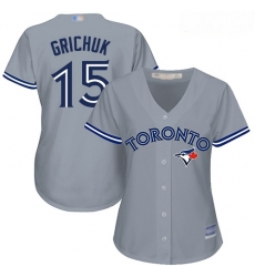 Blue Jays #15 Randal Grichuk Grey Road Women Stitched Baseball Jersey