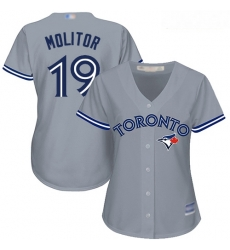 Blue Jays #19 Paul Molitor Grey Road Women Stitched Baseball Jersey