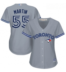 Blue Jays #55 Russell Martin Grey Road Women Stitched Baseball Jersey