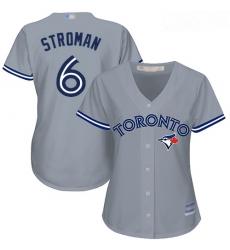 Blue Jays #6 Marcus Stroman Grey Road Women Stitched Baseball Jersey