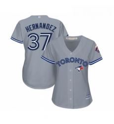 Womens Toronto Blue Jays 37 Teoscar Hernandez Replica Grey Road Baseball Jersey