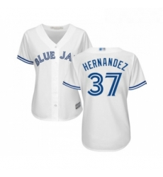 Womens Toronto Blue Jays 37 Teoscar Hernandez Replica White Home Baseball Jersey