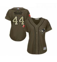 Womens Toronto Blue Jays 44 Rowdy Tellez Authentic Green Salute to Service Baseball Jersey