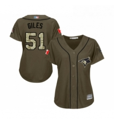 Womens Toronto Blue Jays 51 Ken Giles Authentic Green Salute to Service Baseball Jersey