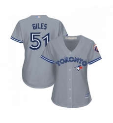 Womens Toronto Blue Jays 51 Ken Giles Replica Grey Road Baseball Jersey