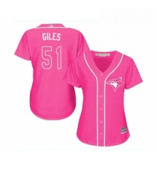 Womens Toronto Blue Jays 51 Ken Giles Replica Pink Fashion Cool Base Baseball Jersey