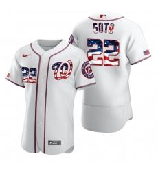 Men Washington Nationals 22 Juan Soto Men Nike White Fluttering USA Flag Limited Edition Flex Base MLB Jersey
