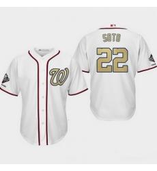 Men Washington Nationals  22 Juan Soto White 2019 World Series Champions Gold Program Cool Base Jersey