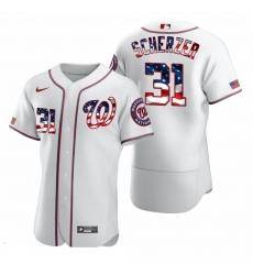 Men Washington Nationals 31 Max Scherzer Men Nike White Fluttering USA Flag Limited Edition Flex Base MLB Jersey