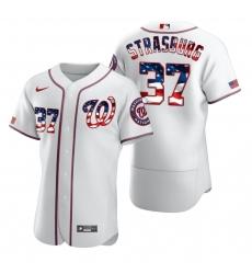 Men Washington Nationals 37 Stephen Strasburg Men Nike White Fluttering USA Flag Limited Edition Flex Base MLB Jersey
