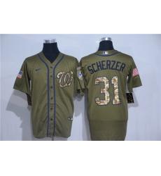 Nationals 31 Max Scherzer Olive 2020 Nike Cool Base Jersey