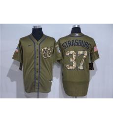 Nationals 37 Stephen Strasburg Olive 2020 Nike Cool Base Jersey