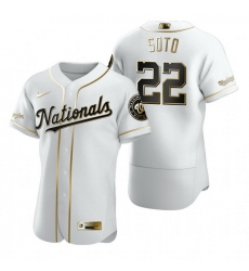 Washington Nationals 22 Juan Soto White Nike Mens Authentic Golden Edition MLB Jersey