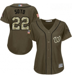 Nationals #22 Juan Soto Green Salute to Service Women Stitched Baseball Jersey