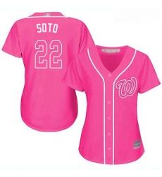 Nationals #22 Juan Soto Pink Fashion Women Stitched Baseball Jersey