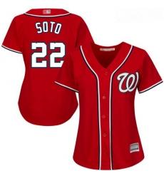 Nationals #22 Juan Soto Red Alternate Women Stitched Baseball Jersey