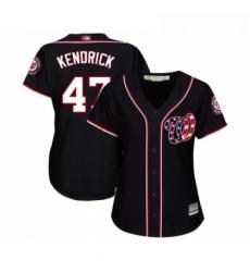 Womens Washington Nationals 47 Howie Kendrick Replica Navy Blue Alternate 2 Cool Base Baseball Jersey