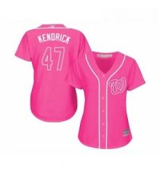 Womens Washington Nationals 47 Howie Kendrick Replica Pink Fashion Cool Base Baseball Jersey