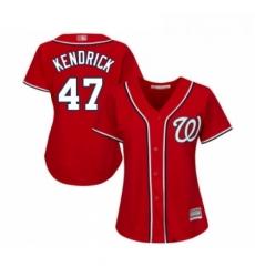 Womens Washington Nationals 47 Howie Kendrick Replica Red Alternate 1 Cool Base Baseball Jersey