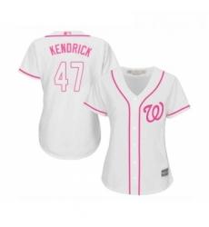 Womens Washington Nationals 47 Howie Kendrick Replica White Fashion Cool Base Baseball Jersey