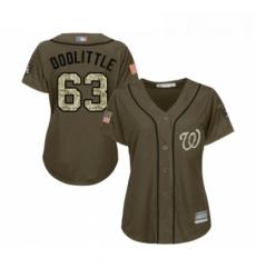 Womens Washington Nationals 63 Sean Doolittle Authentic Green Salute to Service Baseball Jersey