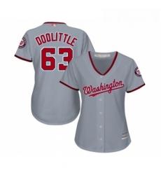 Womens Washington Nationals 63 Sean Doolittle Replica Grey Road Cool Base Baseball Jersey