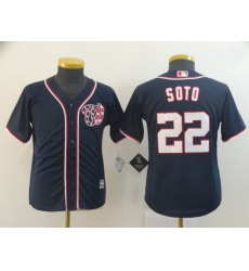 Youth Nationals 22 Juan Soto Navy Cool Base Jersey