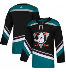 All Size Anaheim Ducks adidas Black Home Authentic Blank Cyan Jersey
