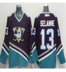Anaheim Ducks #13 Teemu Selanne Purple-Turquoise CCM Throwback Stitched NHL jersey
