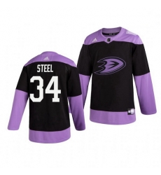 Ducks 34 Sam Steel Black Purple Hockey Fights Cancer Adidas Jersey