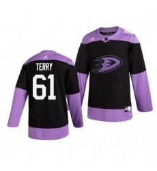 Ducks 61 Troy Terry Black Purple Hockey Fights Cancer Adidas Jersey