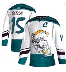 Men Anaheim Ducks 15 Ryan Getzlaf White 2020 21 Reverse Retro Adidas Jersey