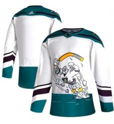 Men Anaheim Ducks Blank White 2020 21 Reverse Retro Adidas Jersey