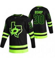 Men Dallas Stars 30 Ben Bishop Black Adidas 2020 21 Reverse Retro Alternate NHL Jersey