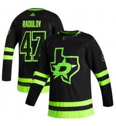 Men Dallas Stars 47 Alexander Radulov Black Adidas 2020 21 Reverse Retro Alternate NHL Jersey