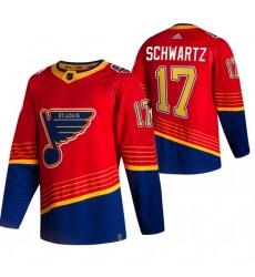 Men St  Louis Blues 17 Jaden Schwartz Red Adidas 2020 21 Reverse Retro Alternate NHL Jersey