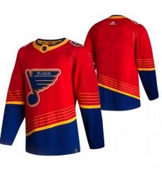 Men St  Louis Blues Blank Red Adidas 2020 21 Reverse Retro Alternate NHL Jersey
