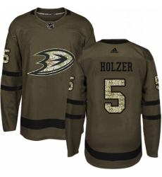 Mens Adidas Anaheim Ducks 5 Korbinian Holzer Premier Green Salute to Service NHL Jersey
