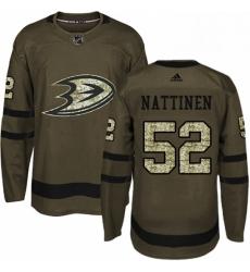 Mens Adidas Anaheim Ducks 52 Julius Nattinen Authentic Green Salute to Service NHL Jersey